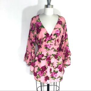 Betsey Johnson Pink Floral Ruffled Tunic